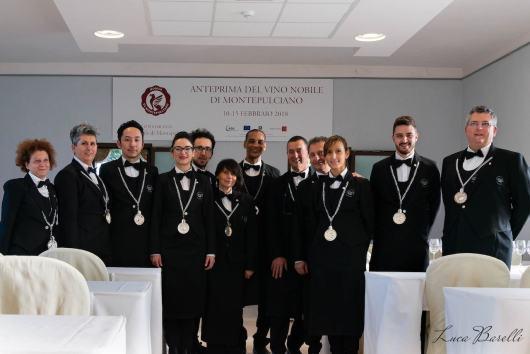 Gruppo di sommeliers all'Anteprima del Vino Nobile di Montepulciano 2018