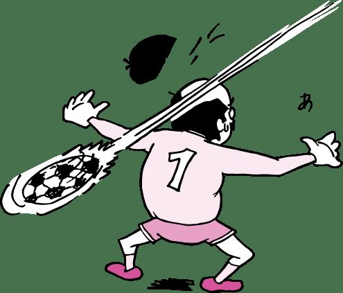 サッカーでキーパーを任されたおっさん(ピンク色ver)のイラスト