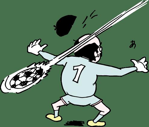 サッカーでキーパーを任されたおっさんのイラスト