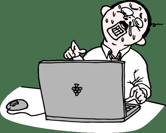 パソコンに向かい必死に残業するおっさんのイラスト