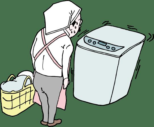 洗濯機前で待機するおっさんのイラスト