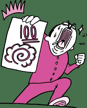 100点のテストを掲げる学生(ピンク色ver)のイラスト