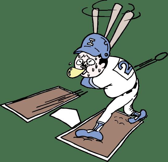 野球でストライクをとられるおっさんのイラスト