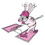 野球でストライクをとられるおっさん(ピンク色ver)