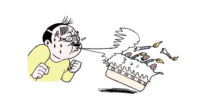 誕生日ケーキの火を消すおっさんのイラスト
