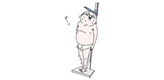 身体測定で背伸びするおっさんのイラスト