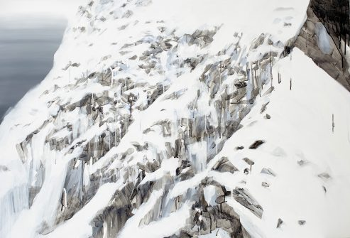 Energiquement paisible, pigment et acrylique sur toile, 89x130 cm, © Jihee Han