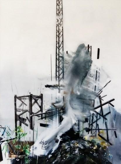 Muriel Rodolosse_Sur les traces d'une échappée moderniste,peinture inversée sous Plexiglas,2016,190X140cm