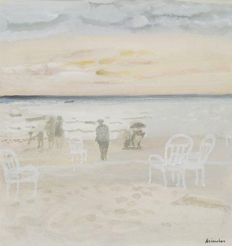 Crépuscule sur la mer – gouache - 32x30 cm