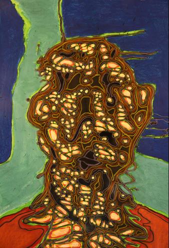 Autoportrait II 2017 acrylique et cire sur papier marouflé sur toile 130x89 cm