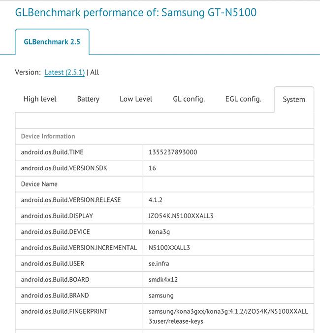 В результатах GLBenchmark засветился 7,7-дюймовый Galaxy Note