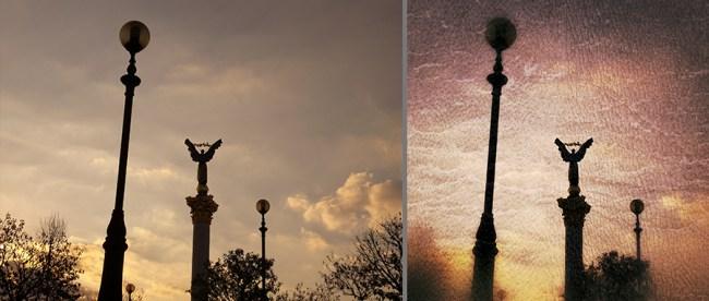 «Три шара». Слева – исходный снимок, съемка в Smart-режиме «Закат». Справа – обработанная в Snapseed версия – кадрирование, инструмент Grunge (стиль 1401, яркость +15, контрастность +37, текстура № 3 +40, насыщенность +100)