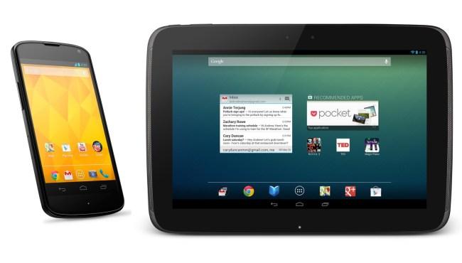 Смартфон LG Nexus 4 и планшет Samsung Nexus 10