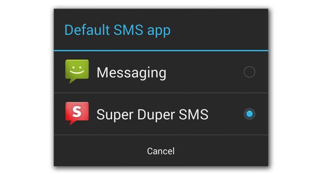 В Android 4.4 можно будет использовать сторонние приложения для работы с SMS и MMS