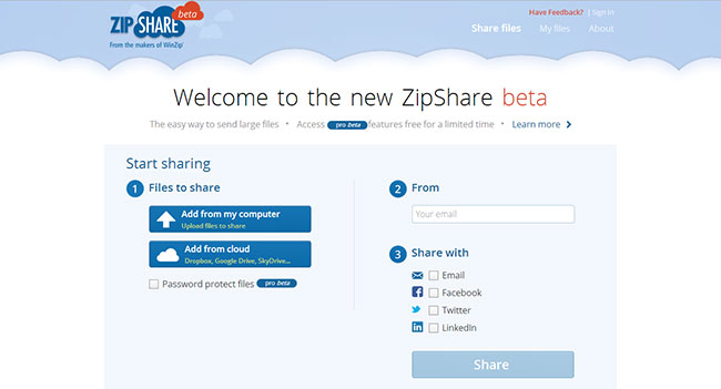 ZipShare - облачный сервис с автоматическим архивированием загружаемых файлов