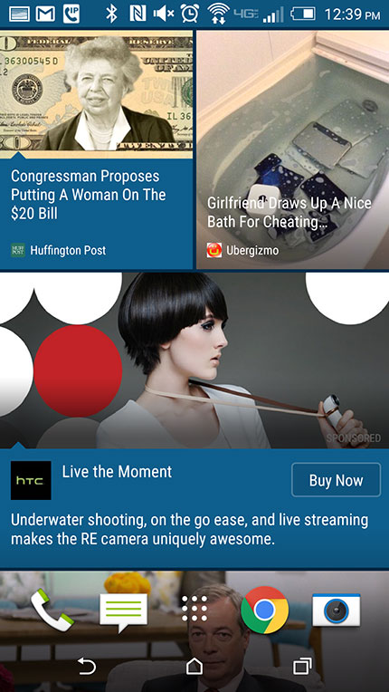 HTC внедрила рекламу в свой агрегатор новостей BlinkFeed