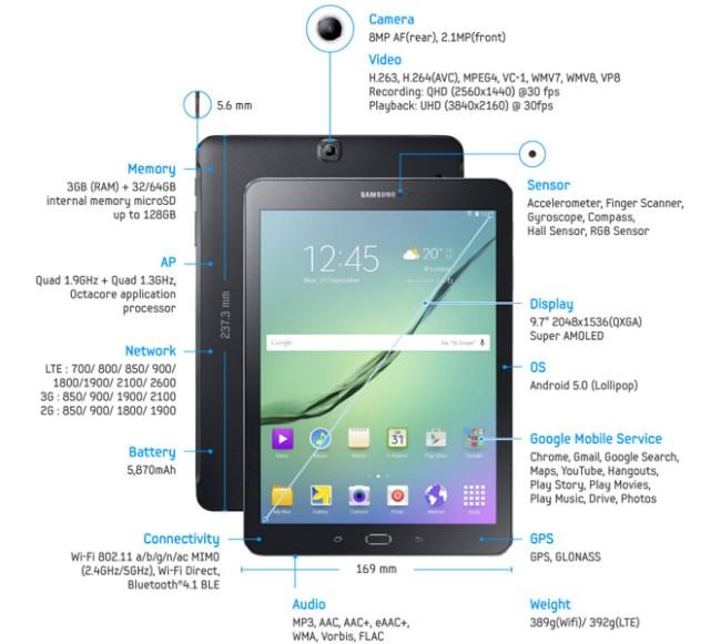 Samsung анонсировала планшет Galaxy Tab S2 в двух модификациях