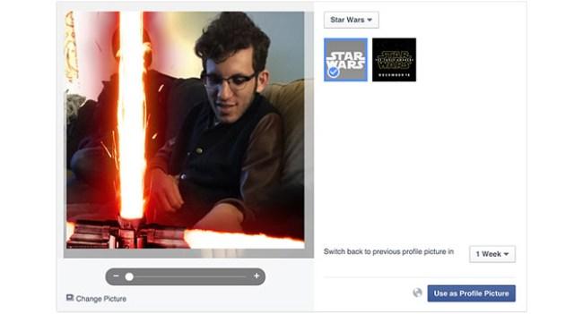 В Facebook можно добавить изображение светового меча к своей фотографии профиля