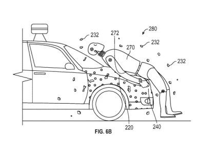 Google запатентовала «капот-липучку» для самоуправляемых автомобилей, призванный смягчить последствия столкновения с пешеходами
