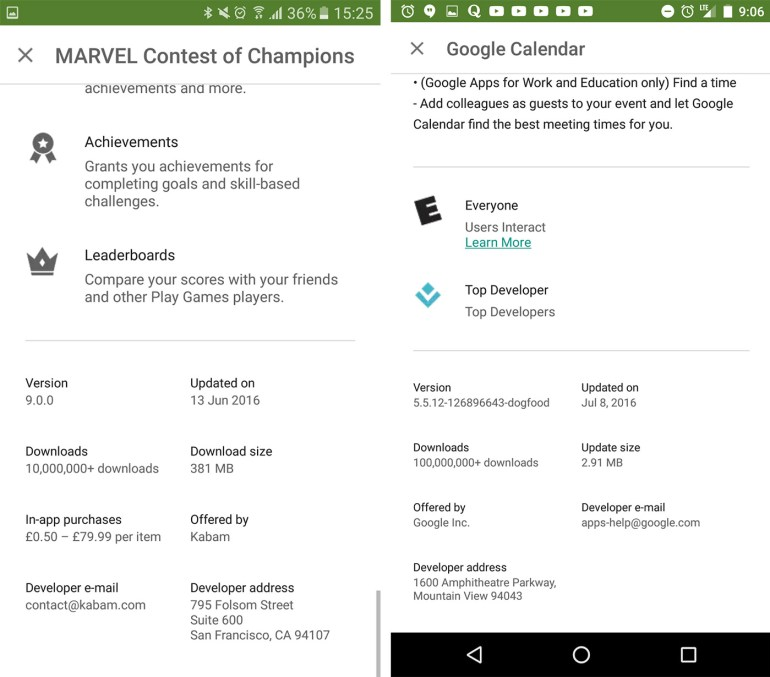 В Google Play теперь показывается фактический размер приложений и обновлений и используются улучшенные алгоритмы для уменьшения объёма загрузок