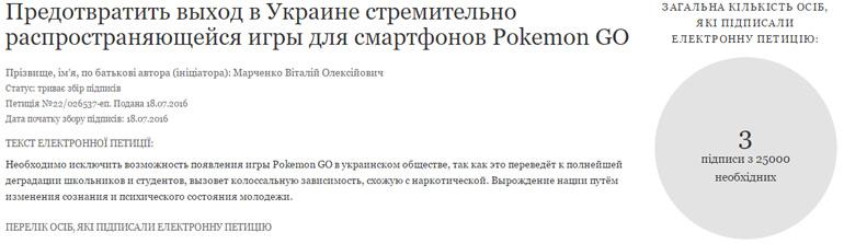 Инициирована петиция, призывающая предотвратить выход в Украине игры Pokemon GO