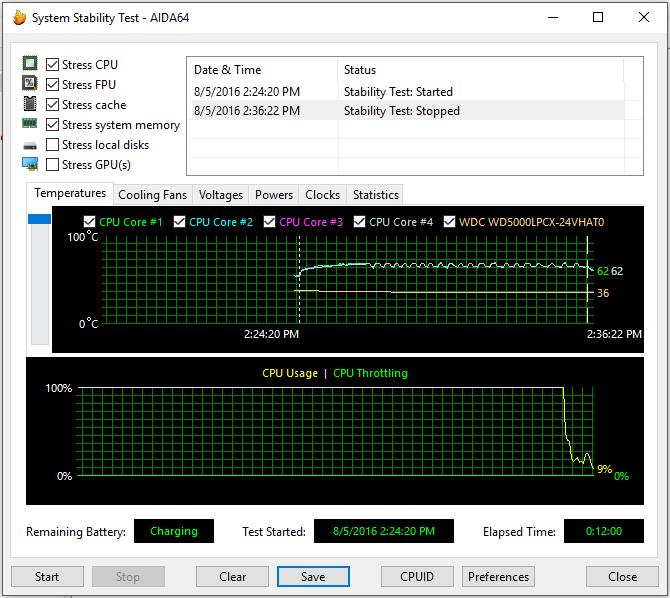 Lenovo ideapad 110 system stability test