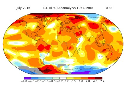 Июль 2016 года оказался самым жарким за всю историю наблюдений