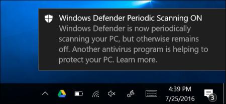 В Windows 10 Anniversary Update встроенный антивирус Defender может дополнительно сканировать систему, даже если в ней установлен другой антивирус
