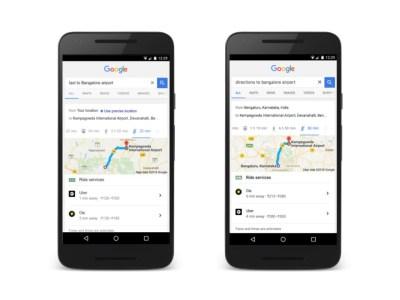 Google начинает внедрять вызов такси Uber непосредственно в поисковик
