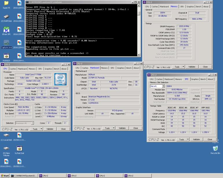 Процессор Intel Core i7-7700K (Kaby Lake) на частоте 7023 МГц оказался лучшим в нескольких дисциплинах HWBot
