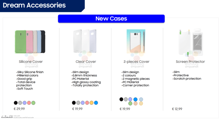 Опубликованы изображения и европейские цены фирменных аксессуаров для Samsung Galaxy S8/S8 Plus