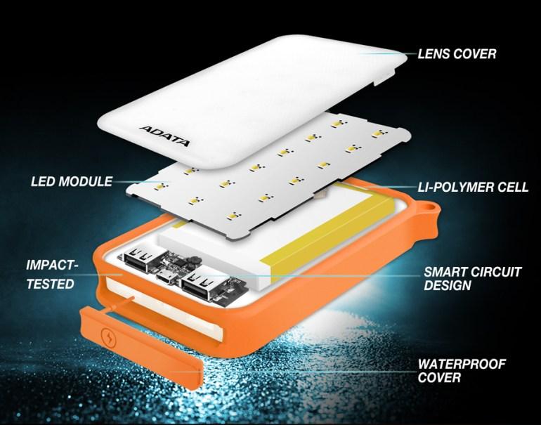 ADATA D8000L - защищенный по стандарту IP54 внешний аккумулятор на 8000 мАч с мощной светодиодной лампой