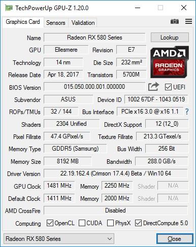 Обзор видеокарты ASUS ROG STRIX RX580 T8G GAMING