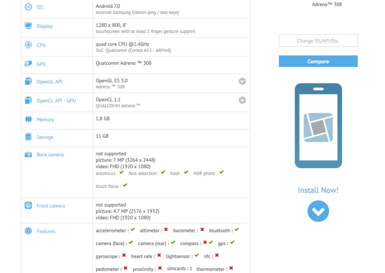 В базе данных GFXBench появились технические характеристики нового планшета Samsung Galaxy Tab A 8.0 (2017)
