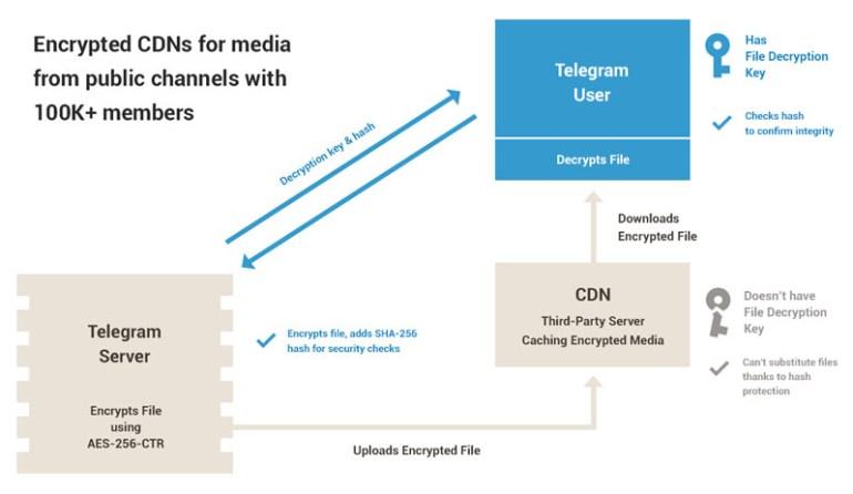 Telegram начал использовать CDN-сети для кэширования файлов публичных каналов и чатов, а также запустил самоуничтожающиеся фото и видео в личных чатах