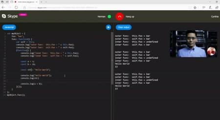 В Skype встроили редактор исходного кода с поддержкой семи языков и подсветкой синтаксиса