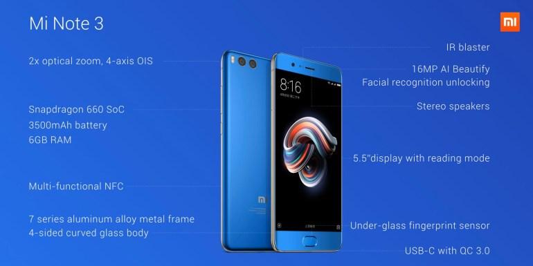 Смартфон Xiaomi Mi Note 3 оказался увеличенной версией Mi 6 с менее производительной платформой (Snapdragon 660)