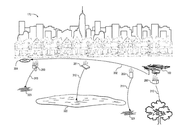 """Amazon запатентовала """"саморазрушающийся"""" дрон, который будет разделяться на части и отбрасывать их подальше от людей при аварийном падении"""