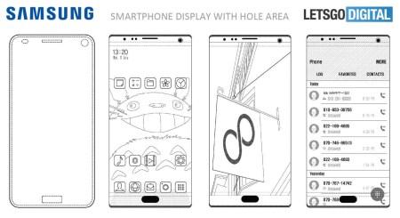 Samsung получил патент на «спрятанные» за экраном фронтальную камеру, датчик освещенности, сканер отпечатков и разговорный динамик