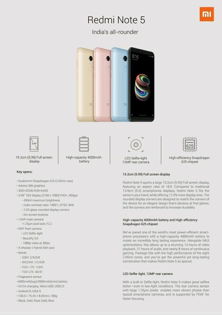 Все характеристики Xiaomi Redmi Note 5 / 5 Pro попали в сеть за день до анонса - Note 5 оказался клоном Redmi 5 Plus, а Note 5 Pro получил двойную камеру в стиле iPhone X