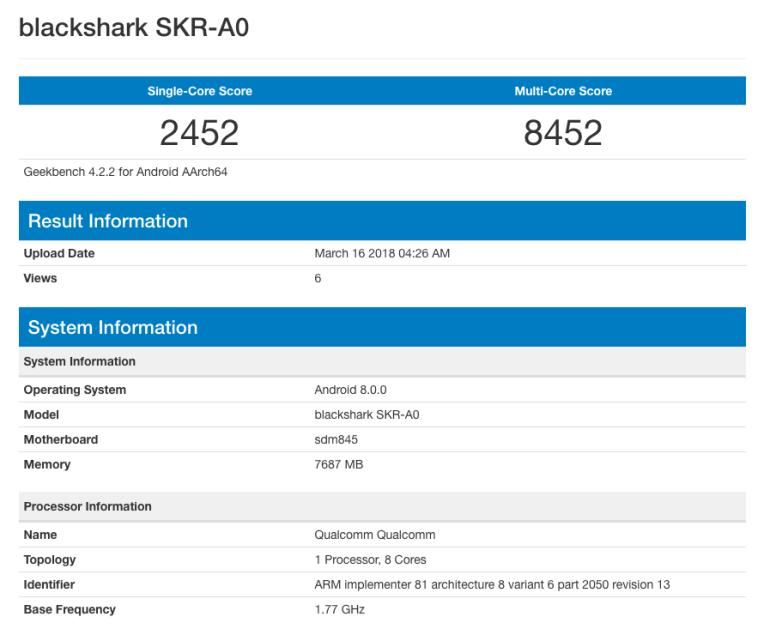 Геймерский смартфон Xiaomi Blackshark на основе Snapdragon 845 и 8 ГБ ОЗУ засветился в бенчмарке Geekbench