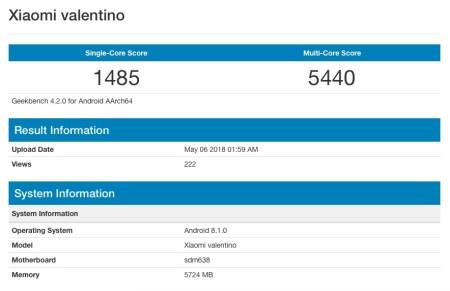 В Geekbench замечен таинственный смартфон Xiaomi Valentino с непредставленной SoC Snapdragon 638 и 6 ГБ ОЗУ