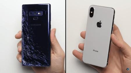 Смартфоны Samsung Galaxy Note 9 и Apple iPhone X сравнили на прочность в дроп-тесте [видео]