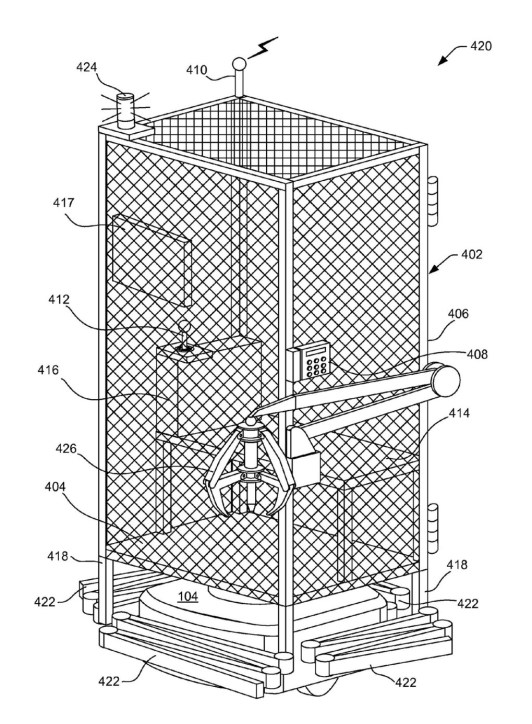 Amazon запатентовала металлические клетки для перемещения сотрудников по складским помещениям