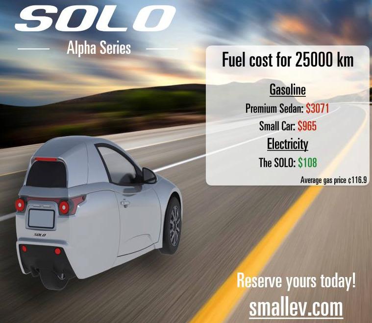Solo - трехколесный электрокар от канадского автопроизводителя Electra Meccanica