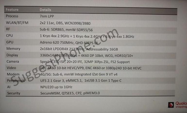 Полные характеристики будущей 7-нанометровой SoC Snapdragon 735 со встроенным модемом 5G