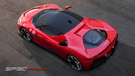 Ferrari SF90 Stradale — первый подключаемый гибрид бренда с ДВС и тремя электродвигателями суммарной мощностью 1000 л.с.