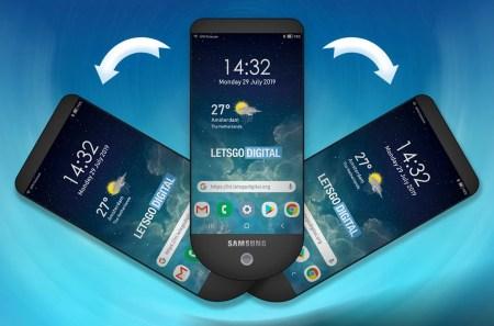 Samsung запатентовала уникальный дизайн смартфона-веера с тремя дисплеями, расположенными стопкой друг над другом