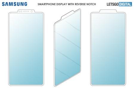 Samsung запатентовал «обратную челку» для смартфонов, которая выносит фронтальную камеру и другие модули за пределы матрицы