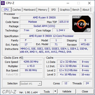 CPU-Z Ryzen 9 3900X overclock